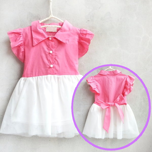 【班比納精品童裝】氣質公主荷葉袖棉襯衫拼接紗裙洋裝-西紅【BO150507001】