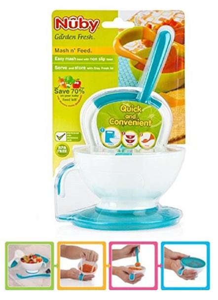 Nuby 鮮果園系列~ 副食品製作好幫手 食物研磨碗 藍色 5435