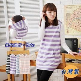 *孕味十足。孕婦裝*【CFH4909】台灣製。可愛款條紋刷毛連帽孕婦長版上衣 4色