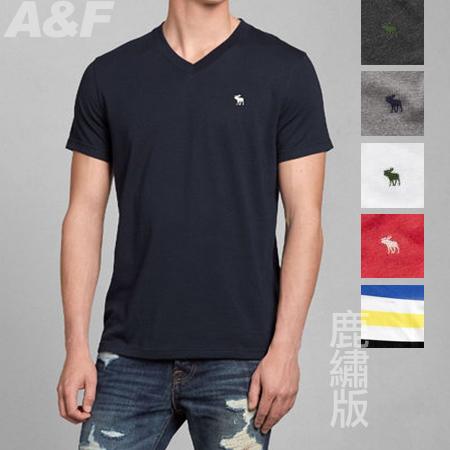 丁果 *美國Abercrombie&Fitch(A&F)男短袖V領素色/條紋經典麋鹿LOGOT恤 美國原裝帶回 現貨供應