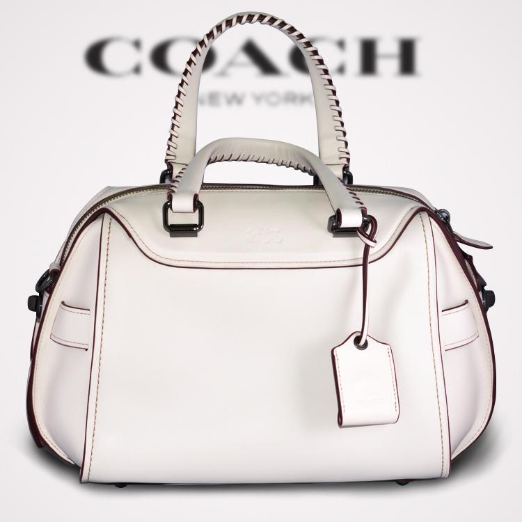 丁果嚴選*【COACH 】正品 時尚藤編設計 Glovetanned雙層皮革 優雅白 現貨供應