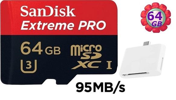 送 T04 OTG 讀卡機 SanDisk 64GB 64G microSDXC【95MB/s】Extreme Pro 633X microSD micro SD SDXC UHS UHS-I 4K U3 Class 3 C10 Class 10 原廠包裝 記憶卡 手機記憶卡