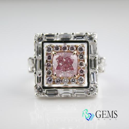 (售出)GIA認證彩鑽 天然真鑽 1.28克拉清淡粉鑽 高淨度VS1 RAdiant Gems閃亮寶石