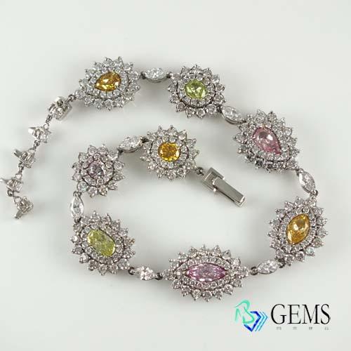 (售出)GIA認證彩鑽 濃豔多彩鑽石手鍊3.41克拉 Radiant Gems閃亮寶石