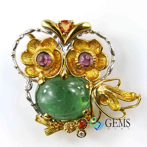 貓頭鷹造型綠色碧璽兩用墜子 Radiant Gems閃亮寶石