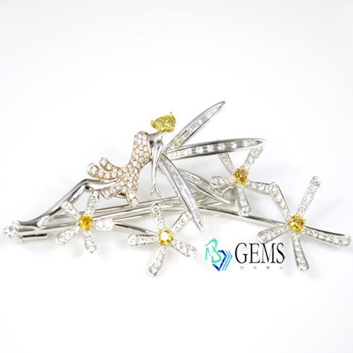 彩鑽 黃鑽 白鑽 花仙子胸針 別針 約4.5克拉 Radiant Gems閃亮寶石