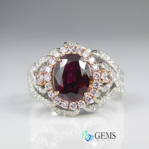 (售出)天然彩寶系列 1.75克拉天然GIA認證紅寶石戒指 Radiant Gems閃亮寶石