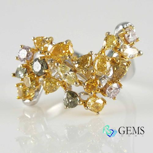 天然真鑽 彩鑽 黃鑽組合特殊造型戒指 Radiant Gems閃亮寶石
