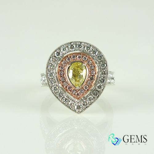 (售出)濃黃鑽戒指 1克拉 GIA彩鑽 天然真鑽  Radiant Gems閃亮寶石