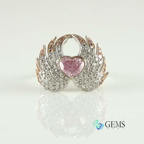 (售出)GIA認證彩鑽 真鑽 粉鑽愛心翅膀戒指 1.10克拉 Radiant Gems閃亮寶石