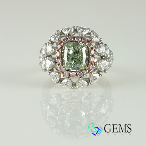 (售出)GIA認證彩鑽 天然真鑽 3.01克拉淡綠鑽戒指 淨度VS2 Radiant Gems閃亮寶石
