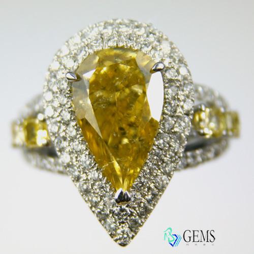 (售出)濃彩橘黃鑽戒 GIA彩鑽 3.01克拉 Radiant Gems閃亮寶石