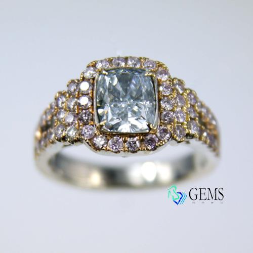 (售出)GIA認證彩鑽 1.26克拉 天空 清淡藍鑽戒 Radiant Gems閃亮寶石