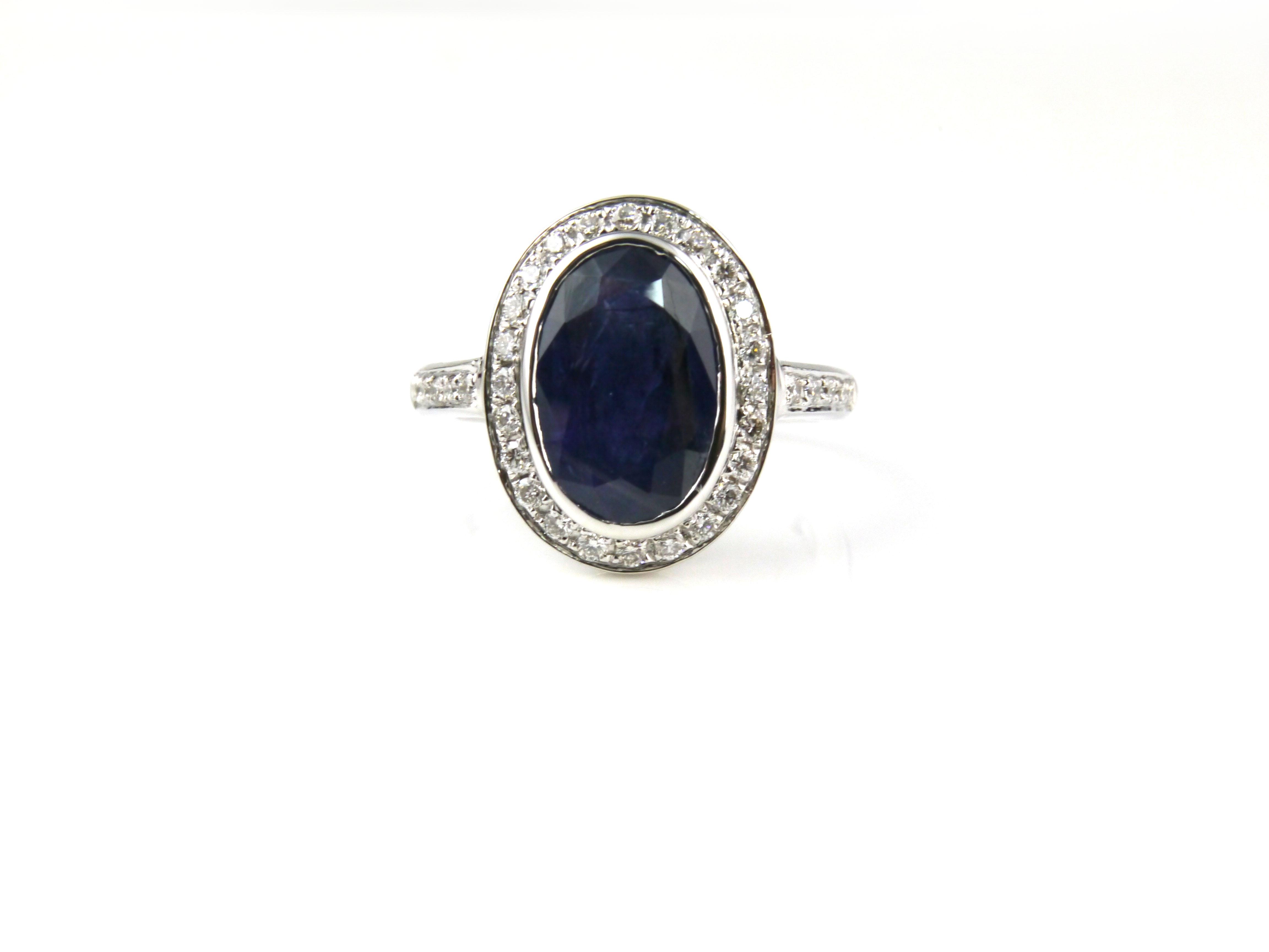 天然藍寶石3.04克拉 鑽石戒指 附GRS證書 Radiant Gems閃亮寶石