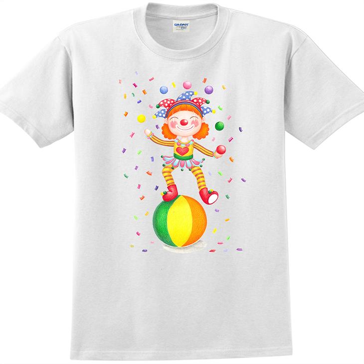 設計師系列 - T恤:【 愛情小丑 】短袖修身 T-shirt ( 白 )  Sabrina
