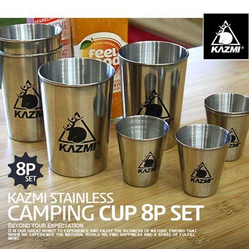 【露營趣】中和 KAZMI K3T3K083 不鏽鋼套杯8件組 不鏽鋼杯 酒杯 啤酒杯 威士忌杯 杯組 露營旅行野餐