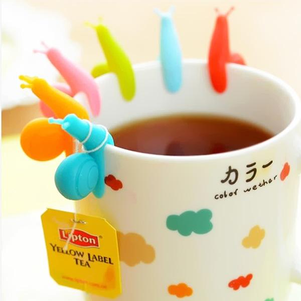 創意糖果色蝸牛矽膠杯緣茶包掛(6入)♦ 樂荳城 ♦