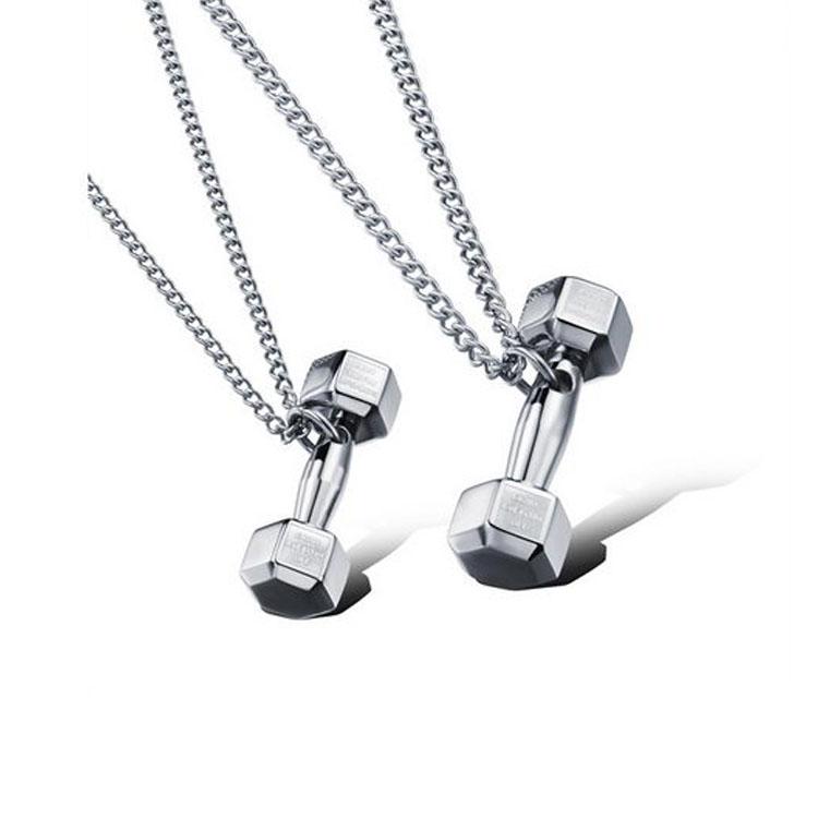 最新款潮流歐美風格個性啞鈴造型情侶款鈦鋼項鍊