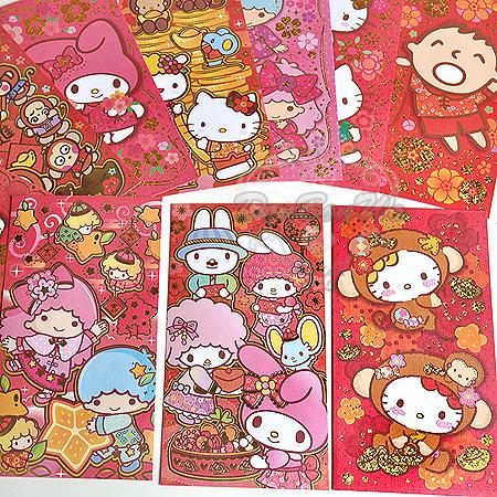 KITTY丹尼爾大寶淘氣猴美樂蒂雙子星紅包袋新年系列燙金4入組932250海度