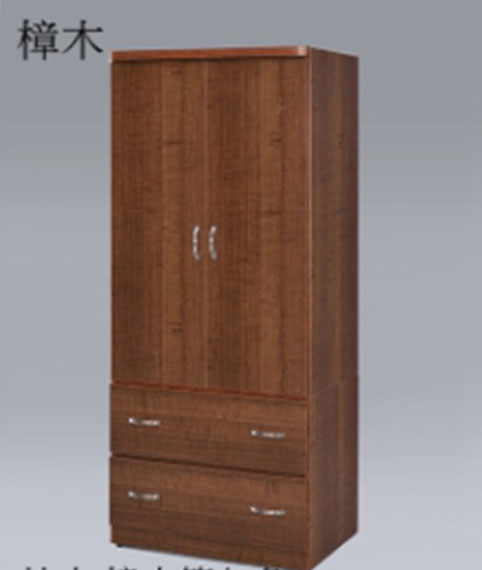 【尚品傢俱】GF-R16 百合 樟木色2.5尺開門雙抽衣櫃/衣櫥/儲物櫃/置物櫃/收納櫃/貯藏櫃