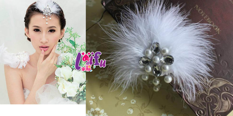 *來福*k598新娘髮飾小羽毛絕色珠水晶頭飾新娘髮飾髮夾結婚頭飾,1個售價160元