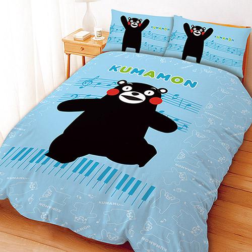 單人床包枕套組【KUMAMON 熊本熊】日本正版卡通授權MIT臺灣製造~華隆寢飾
