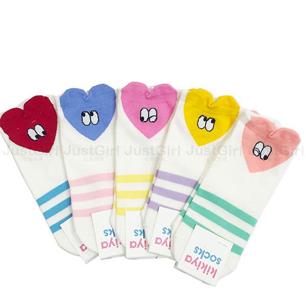 正韓 韓國襪 東大門 襪子 棉襪 短襪 船型襪 kikiya socks 愛心 條紋 紅 藍 桃粉 粉 JustGirl