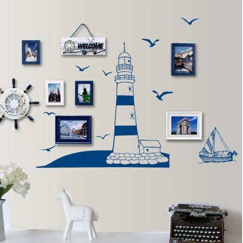 Loxin☆創意可移動壁貼 藍色帆船【BF0960】開關貼/壁紙/牆貼/背景貼/裝飾佈置/室內設計裝潢/客廳臥室浴室