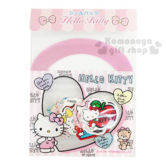 〔小禮堂〕Hello Kitty 日製提袋造型貼紙組《粉.20款.40枚.愛心.站姿》可愛造型貼紙