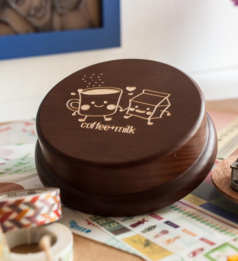 木製 發條式 選轉音樂盒 客製化 情人節禮物-天生一對