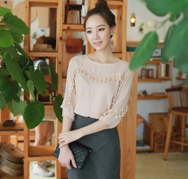 PS Mall 新款流蘇露肩優雅魅力韓版純色上衣 襯衫【T3352】