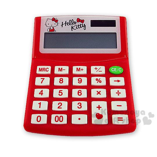 〔小禮堂〕Hello Kitty 太陽能計算機《紅.蝴蝶結》12位元