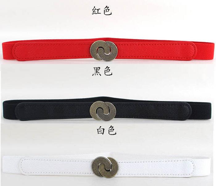 ★草魚妹★H455腰帶搭俐落復古銅色雙圓圈彈力鬆緊細腰帶皮帶,售價165元
