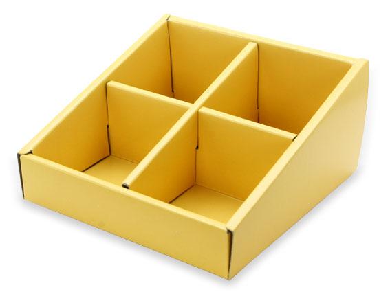 外帶盒、紙盒、包裝盒 4格 G14575-4(黃色)5 pcs含透明盒、附內格