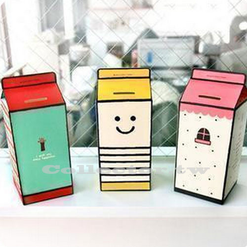 【L14122601】韓版DIY紙作牛奶盒存錢罐 可愛紙質儲蓄罐  DIY創意個性