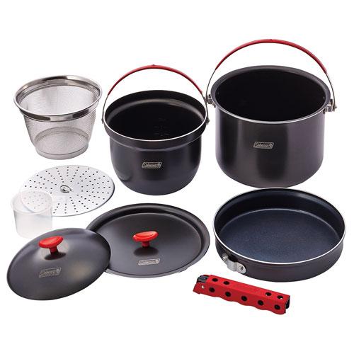 【露營趣】中和 附手電筒 Coleman硬鋁鍋具組 鋁合金套鍋 煮飯鍋 煎鍋 平底鍋 湯鍋 CM-26764