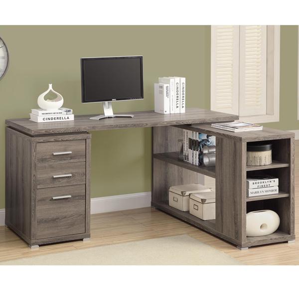 複合式電腦書桌 ( 深木色) / 書桌 / 辦公桌 & DIY組合傢俱