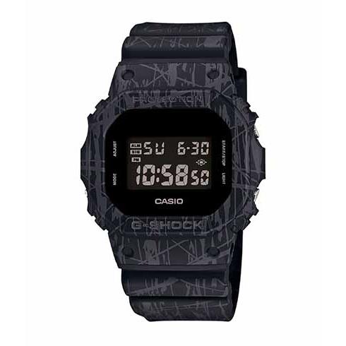 CASIO G-SHOCK DW-5600SL-1酷黑爆裂紋流行腕錶/48.9*42.8mm