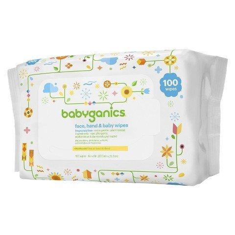 【彤彤小舖】BabyGanics 植物性手臉嬰兒超溫和濕紙巾 無酒精無香 100抽 美國進口