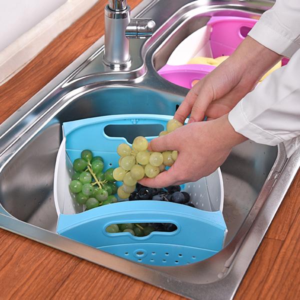 可折疊創意廚房蔬菜水果盤瀝水籃洗菜籃收納籃【阿賢五金百貨】