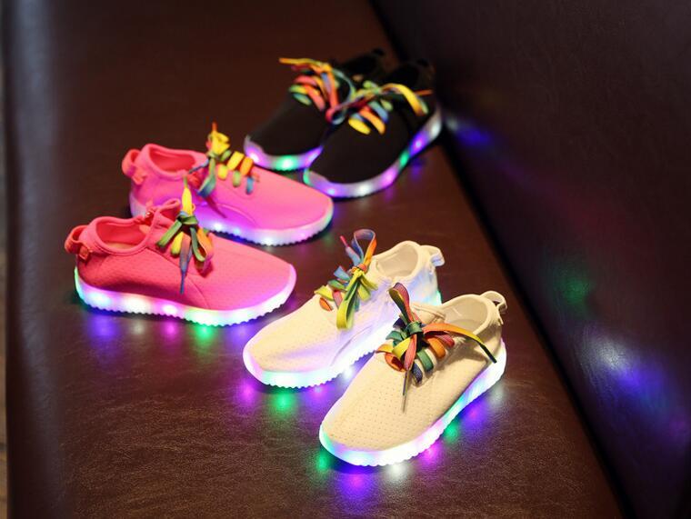 椰子燈鞋LED發光彈力布兒童側拉鏈鞋免充電