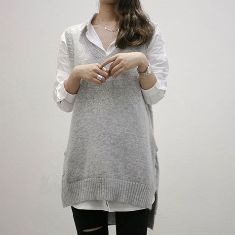 PS Mall 中長款套頭毛線無袖寬鬆V領針織毛衣背心馬甲【T2503】