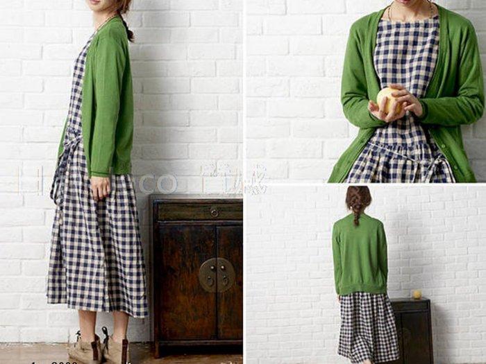 Jeco日韓質感-日系森女復古格子棉麻連身裙洋裝