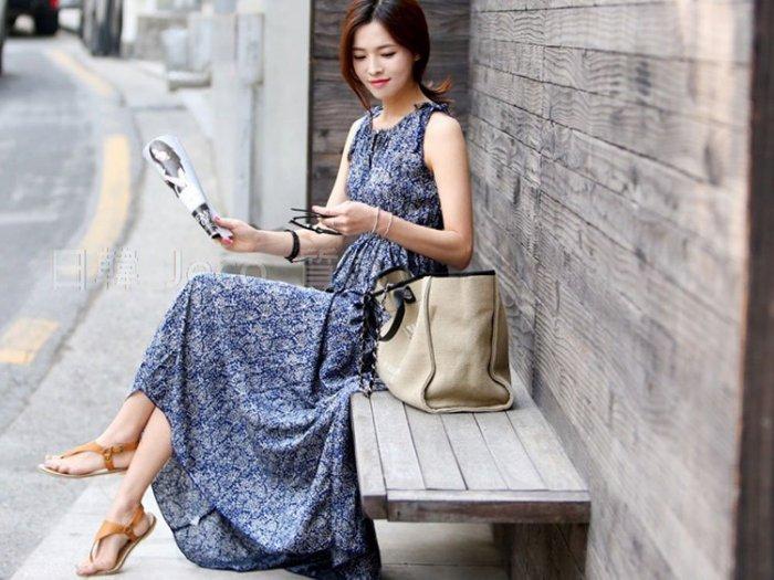 Jeco日韓質感-波西米亞修身無袖碎花長連身百褶裙洋裝