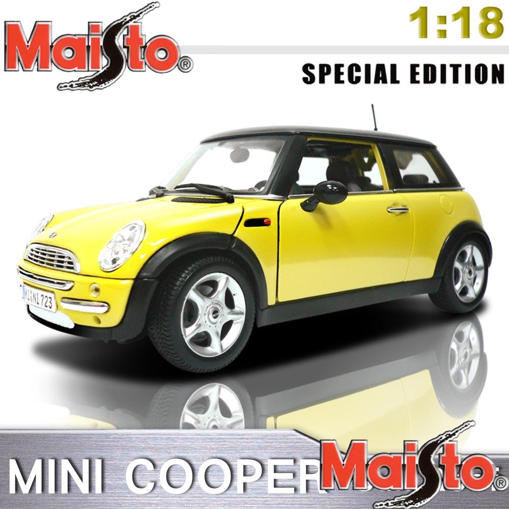 【Maisto】MINI COOPER_SUN ROOF《1/18》合金模型車 -黃色