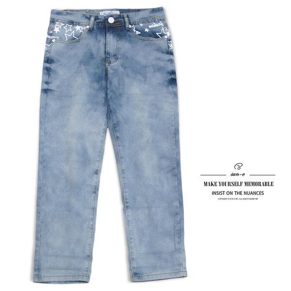 sun-e膠印星星圖案中腰彈性牛仔七分褲、伸縮七分牛仔褲、淺牛仔短褲、七分休閒褲、休閒丹寧、單寧七分褲、COPPED JEANS、DENIM SHORT、CROPPED PANTS、CROPPED SHORTS、腰圍有皮帶環(褲耳)、淺色休閒褲(010-3519-32)淺牛仔 M L XL 2L 3L(腰圍:28~37英吋)(女) [實體店面保障]