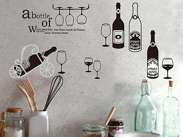 BO雜貨【YV3843】創意可移動壁貼 牆貼 背景貼 磁磚貼 壁貼 組合時尚壁貼 紅酒杯