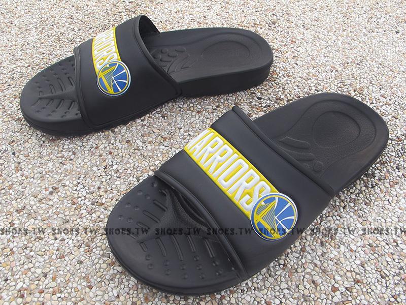 Shoestw【8631101-023】NBA 勇士隊 拖鞋 隊徽LOGO 大字WARRIORS 黑黃