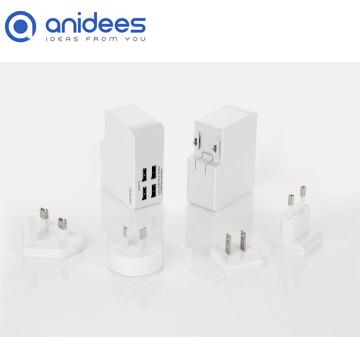 anidees 4 port 4.8A USB 智能電源充電器 (通用插頭)