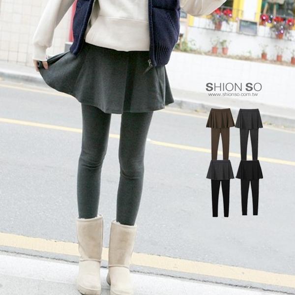 享瘦衣舍中大尺碼【B2032】假兩件式小波浪裙拼接內搭褲
